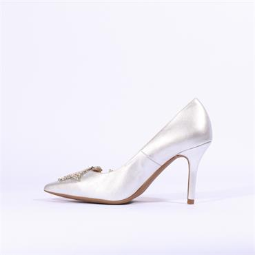 Marian Star Detail Leather Heel Diana - Silver Metallic